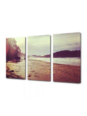 Set Tablouri Muilticanvas 3 Piese Vintage Aspect Retro Plaja in lumina soarelui