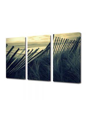 Set Tablouri Muilticanvas 3 Piese Vintage Aspect Retro Gard de lemn pe plaja
