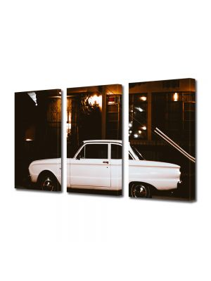 Set Tablouri Muilticanvas 3 Piese Vintage Aspect Retro Masina vintage alba