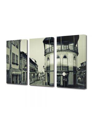 Set Tablouri Muilticanvas 3 Piese Vintage Aspect Retro Oras vechi francez