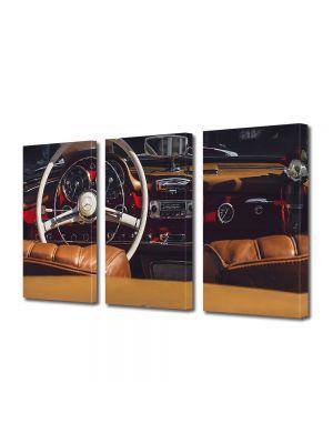 Set Tablouri Muilticanvas 3 Piese Vintage Aspect Retro Interior retro Mercedes