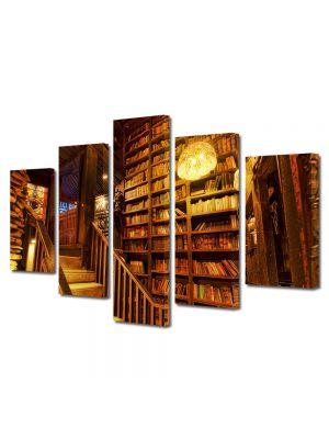 Set Tablouri Muilticanvas 5 Piese Vintage Aspect Retro Biblioteca veche