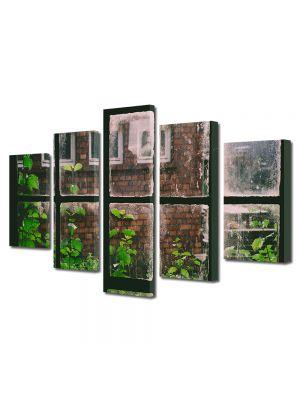Set Tablouri Muilticanvas 5 Piese Vintage Aspect Retro Plante la fereastra