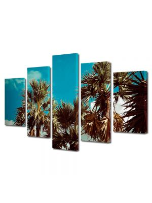 Set Tablouri Muilticanvas 5 Piese Vintage Aspect Retro Coroane de palmieri