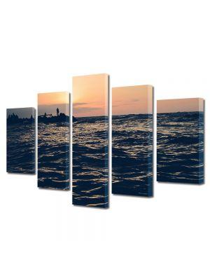 Set Tablouri Muilticanvas 5 Piese Vintage Aspect Retro Apus peste mare