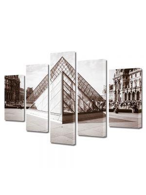 Set Tablouri Muilticanvas 5 Piese Vintage Aspect Retro Piramida de la Luvru