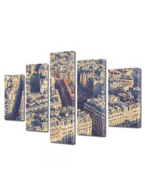 Set Tablouri Muilticanvas 5 Piese Vintage Aspect Retro Paris vazut de deasupra