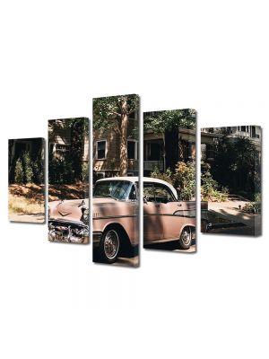 Set Tablouri Muilticanvas 5 Piese Vintage Aspect Retro Masina americana vintage